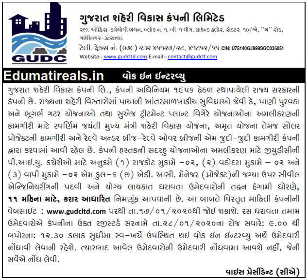 GUDCLTD Recruitment For Various Posts 2020