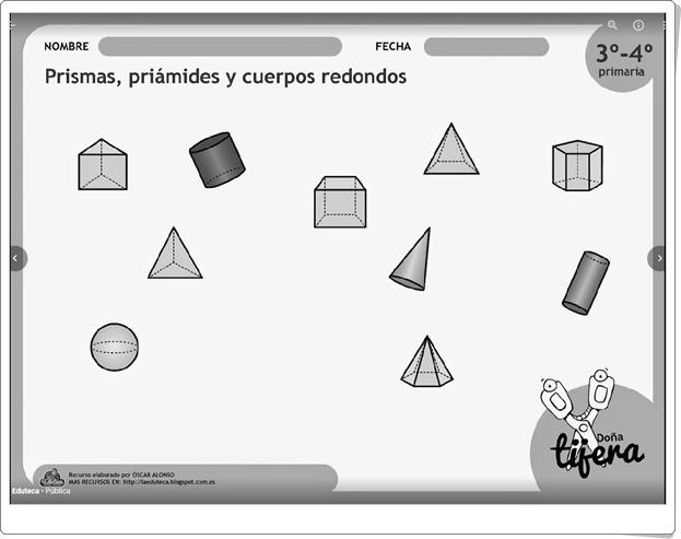 """""""Prismas, pirámides y cuerpos redondos"""" (Fichas recortables de Matemáticas de Primaria)"""