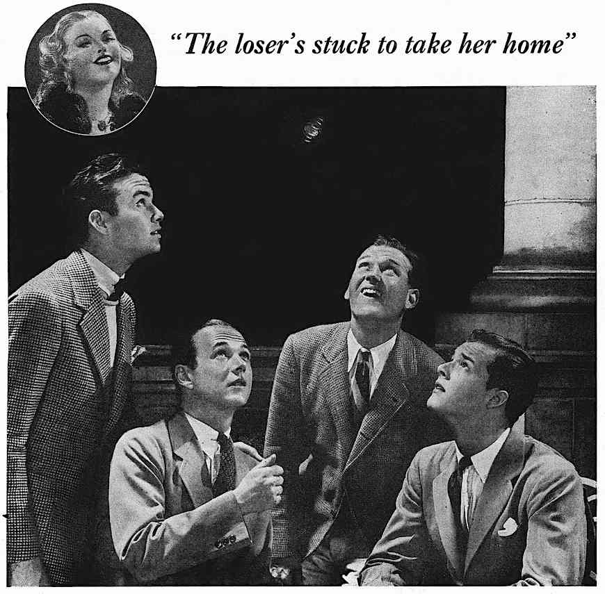 """From a 1930s magazine advertisement about bad breath, men toss a coin to choose, """"The loser's stuck to take her home"""" a photograph"""