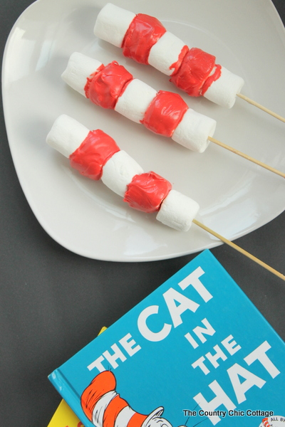 Dr. Seuss Cat in the Hat Marshmallow Treats -- a quick 10 minute 2 ingredient treat that you can whip for for Read Across America Day.