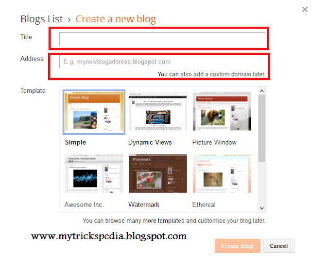 How To Create A Free Blog On Blogspot - Complete Guide-Title and URL