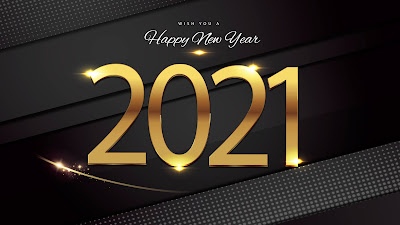 2021 Happy New Year gold black background