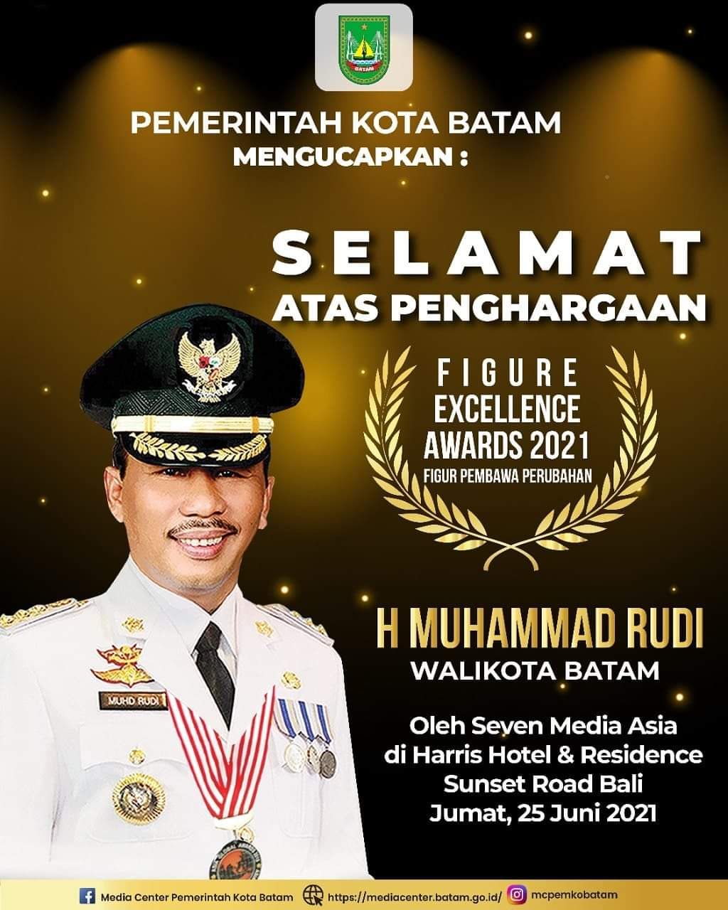 Walikota Batam Meraih Penghargaan Figur Excellence Awards 2021