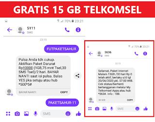 Cara Dapat Paket Gratis 15 GB Telkomsel Rp0 Midnight 30 Hari