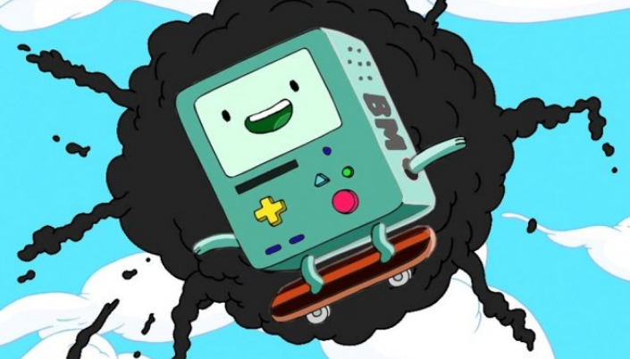 Imagem: BMO, um pequeno robô quadrado e acinzentado com uma tela com um rosto, braços e pernas, no seu corpo alguns botões como um video-game antigo e está saltando de uma explosão no céu.