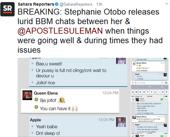 Alleged chat between Stephanie Otobo and Apostle Suleman as released by Sahara Reporters