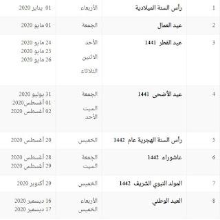 جدول اجازات ١٤٤١