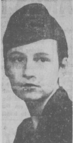 A black-and-white headshot of a young white woman, her hair pulled back and wearing a military-style hat