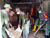 TNI Gondang Bojonegoro, Bersihkan Lumpur Sisa Banjir Luapan Sungai Pacal