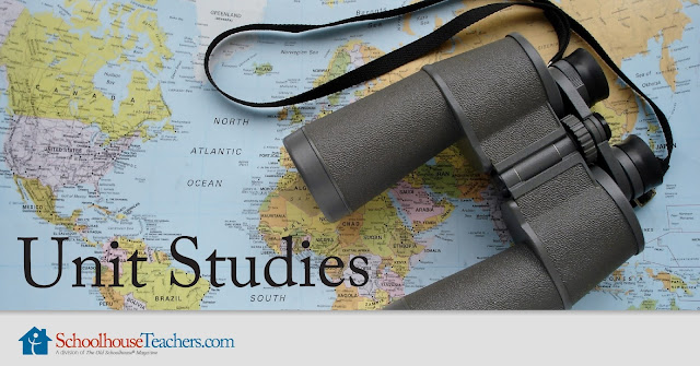 Text: Unit Studies; SchoolhouseTeachers.com; background image of map and binoculars