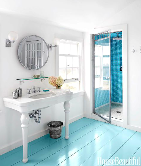 Blue Painted Bathroom Floor. Paint It Bright Blue  Home Decor Ideas from Bottles to Floors