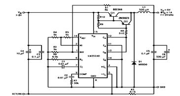 LM2524D Step Down Switching Regulator Circuit Diagram