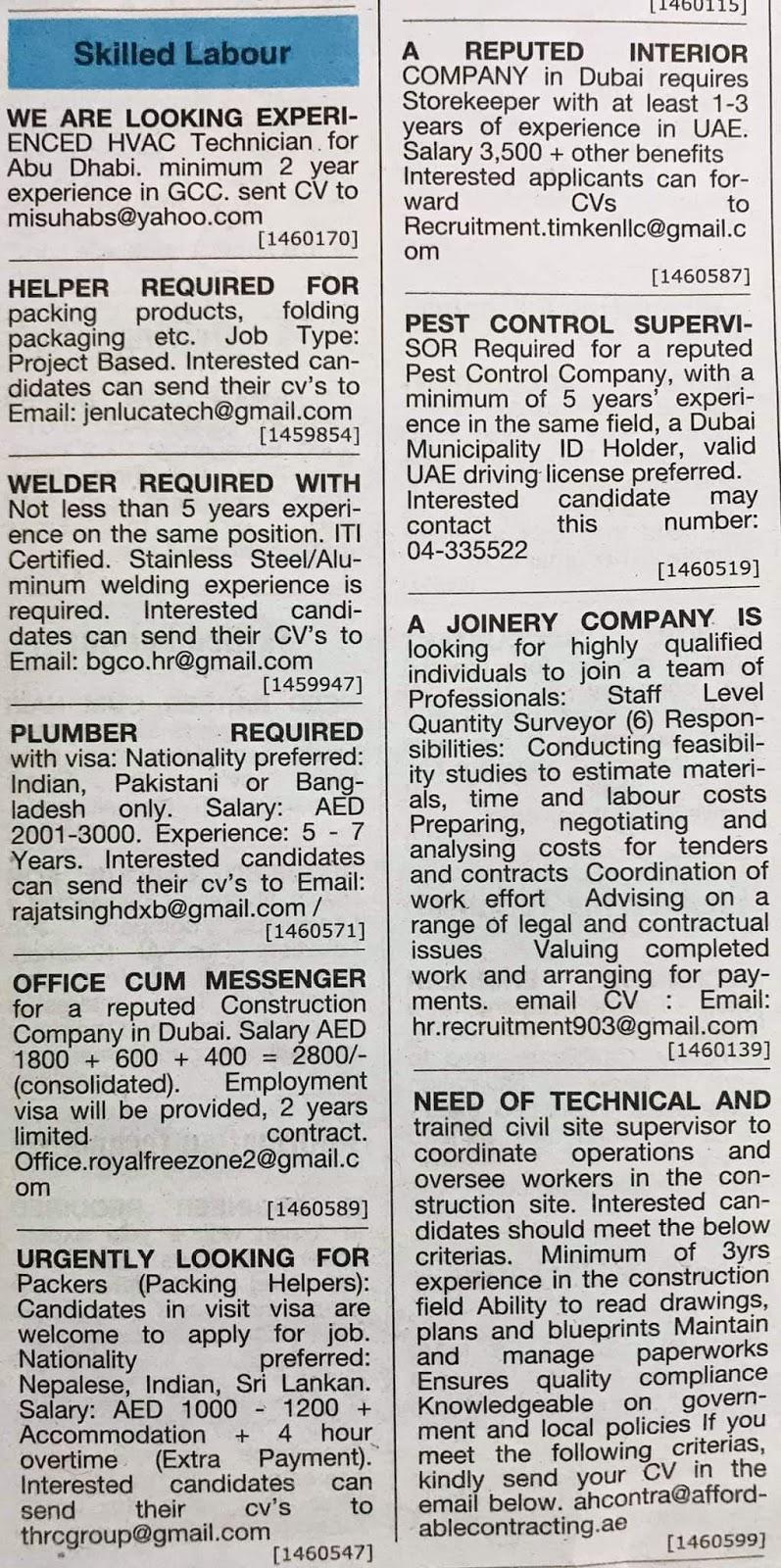 Required following Candidates for Dubai Local Hiring Jobs Khaleej