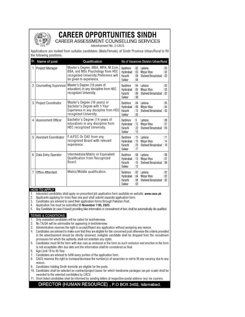 CACS Career Assessment Counseling Services Sindh Jobs