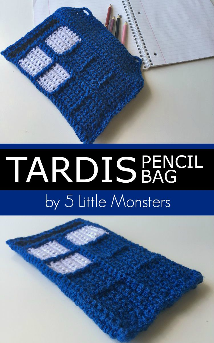 free pattern for a TARDIS pencil bag a perfect back to school craft for any Doctor Who fan