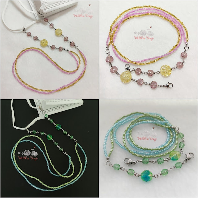 Crackle Glass, Fire Polished Glass Beads face mask chain