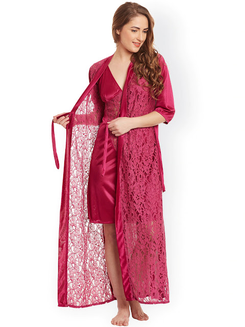 Claura - Burgundy Lace Satin Nightdress with Lace Robe ST-17