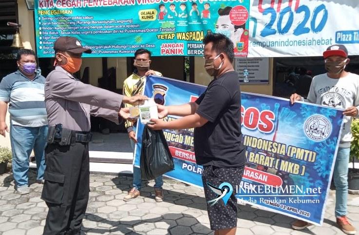 Polsek Buayan dan PMTI Kebumen Barat Bagikan 750 Lembar Masker Gratis