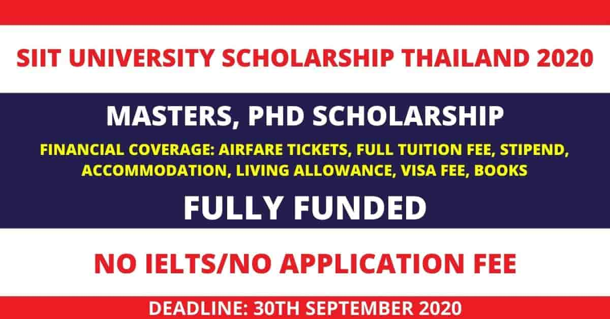 Fully Funded SIIT Scholarship 2020 in Thailand