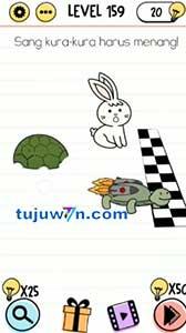 Level 159 jawaban sang kura-kura harus menang brain test
