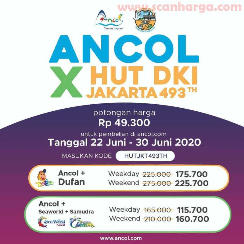 Promo Ancol HUT Jakarta 493 Periode 22 - 30 Juni 2020