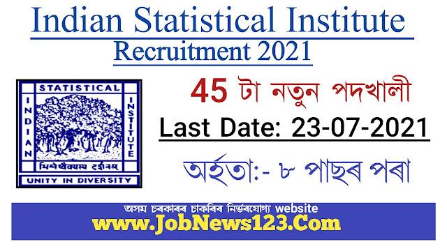 Indian Statistical Institute (ISI) Recruitment 2021: