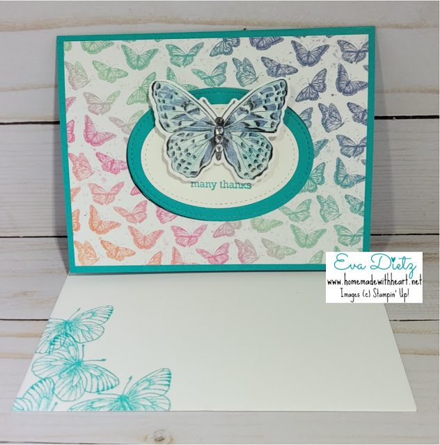 Moving Butterfly which moves and fills the oval opening of the pretty bermuda bay card with mini butterflies flying all over the designer series paper