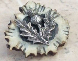 Horn and thistle antique brooch
