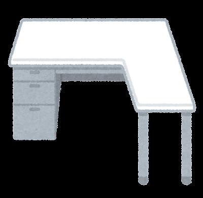オフィスデスクのイラスト(L型)
