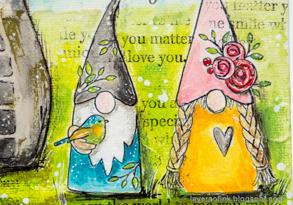 Layers of ink - Gnome Home Mixed Media Canvas Tutorial by Anna-Karin Evaldsson. Spring gnomes.