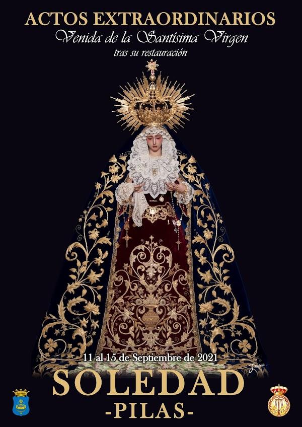 Cartel de Actos Extraordinarios Nuestra Señora de la Soledad 2021 en Pilas