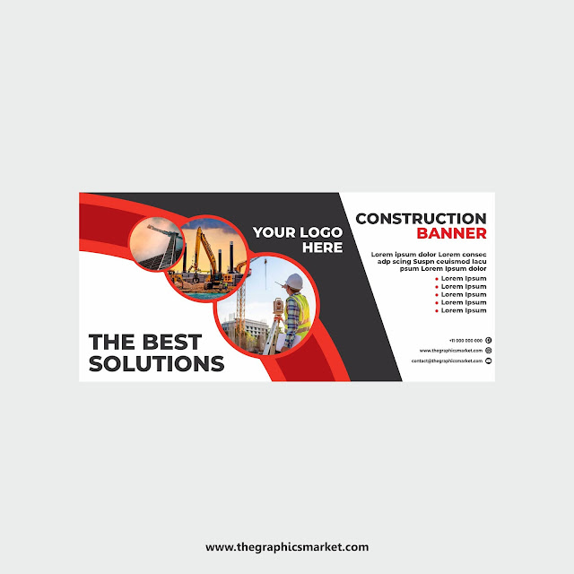 Construction Banner Design Template, The Graphics Market, Free Graphic Design Download,