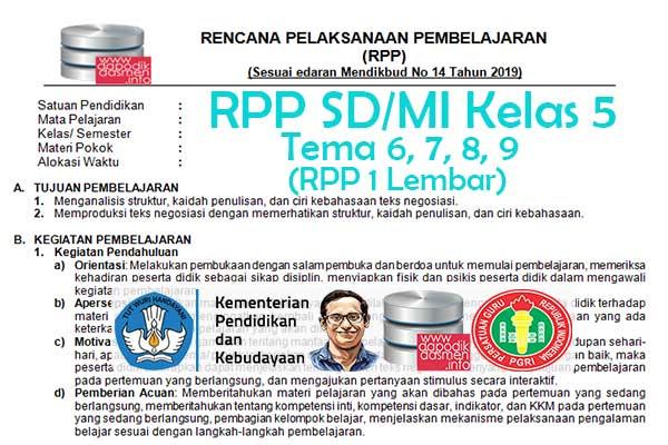 RPP 1 Lembar Tematik SD/MI Kelas 5 Semester 2, Download RPP 1 Halaman Kelas 5 SD MI Kurikulum 2013 Revisi Terbaru, RPP Silabus 1 Halaman Tematik Kelas 5
