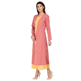 ZUZIZ Women Layered Foil Print Kurta