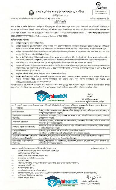 DUET Admission Circular 2020-21