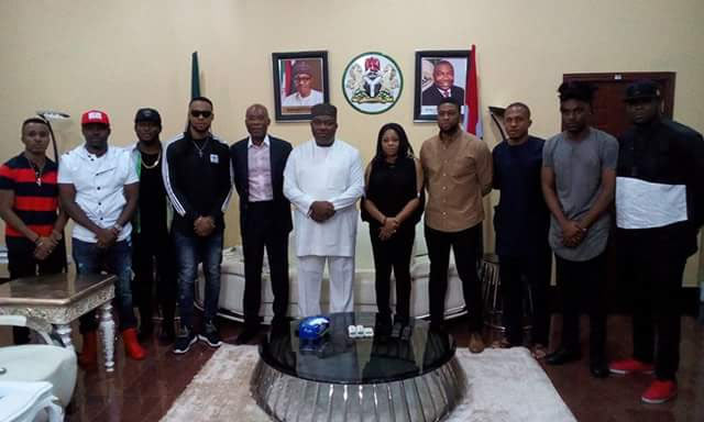 Flavour, Humblesmith visit Governor Ugwuanyi at Enugu State govt house