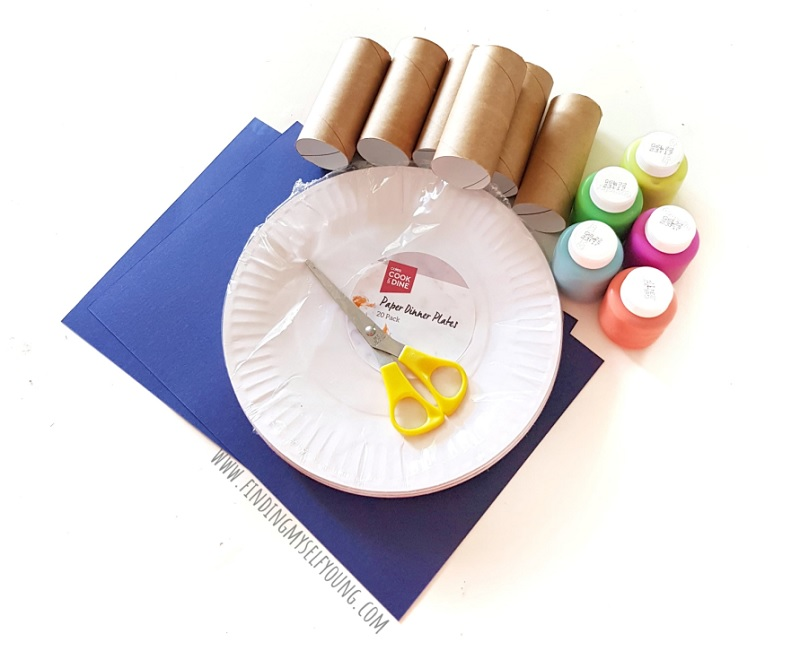 paint and craft supplies to make toilet paper roll fireworks painting