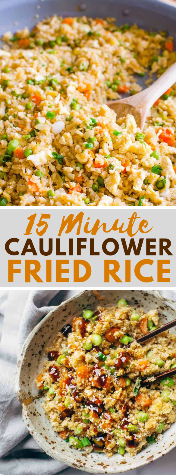 15 Minute Cauliflower Fried Rice #vegetarian #glutenfree