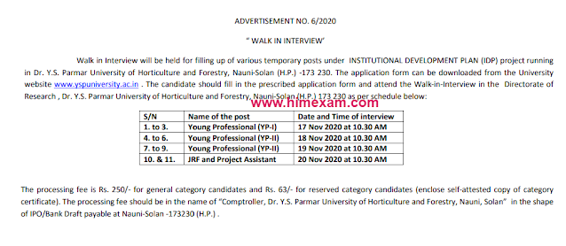 Dr YSP University of Horticulture & Forestry Recruitment 2020- 21 Young Professional I, II, JRF & Project Asst Posts