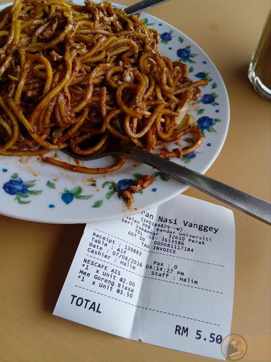 Harga Mee Goreng Mamak Restoran Vanggey
