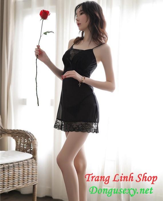 Váy ngủ 2 dây xuyên thấu gợi cảm màu đen