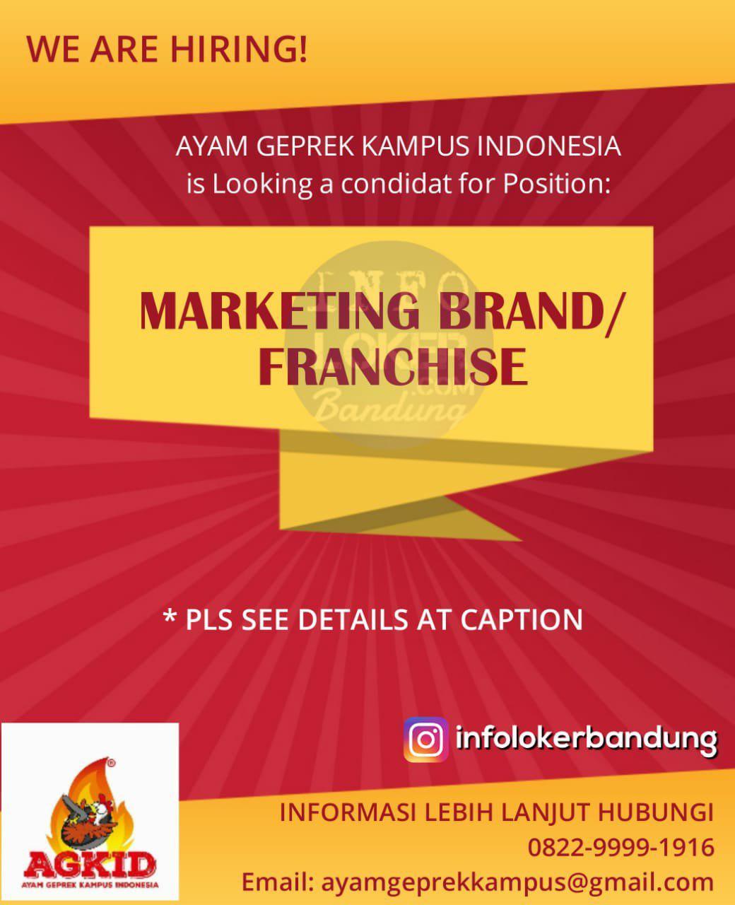 Lowongan Kerja Marketing Brand / Franchise Ayam Geprek Kampus Indonesia Bandung September 2018