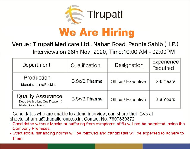 Tirupati Pharma | Walk-in interview for Production/QA on 28 Nov 2020