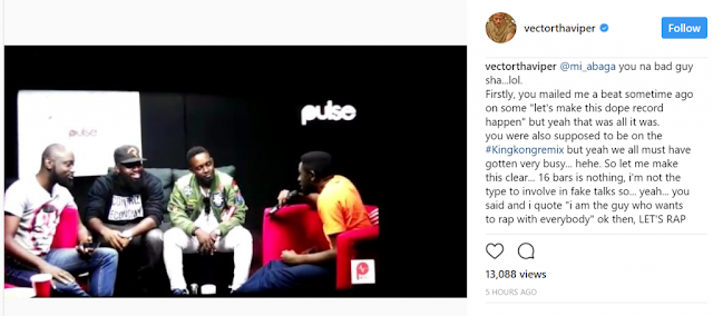 Vector Calls Out M.I After Many Failed Attempts To Collaborate With Him