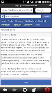 facebook block my blog link