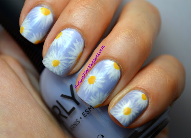 daisy flowers nail art