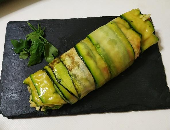 Rollitos de calabacín con arroz