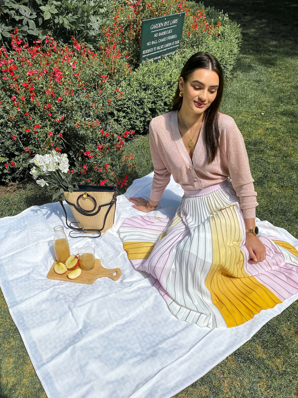 ted baker spring outfit pleated midi skirt pink cardigan picnic