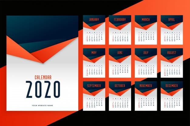 Plantilla de calendario mensual de pared 2020 gratis