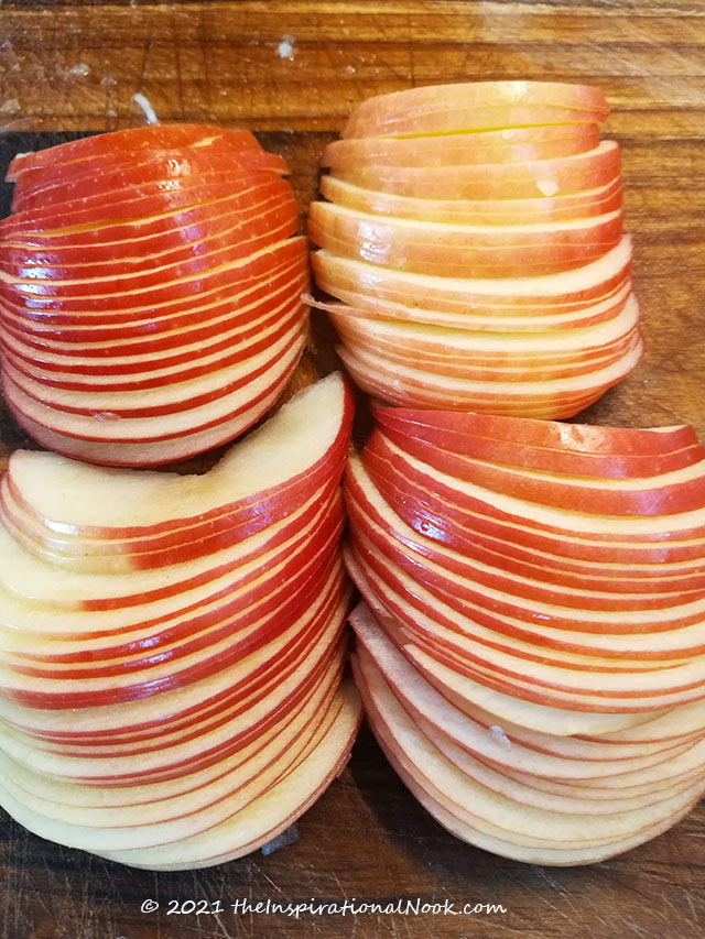 Thinly sliced apples for rose petals for apple rose pies or pastries
